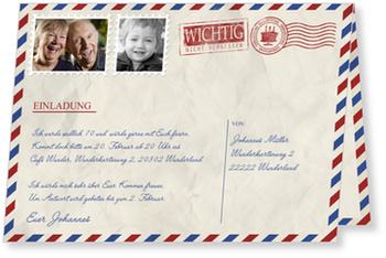 Einladungskarten 70. Geburtstag, Geburtstagsluftpost