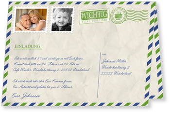 Einladungskarten 50. Geburtstag, Geburtstagsluftpost in Gruen