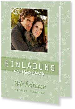 Einladungskarten Hochzeit, Glück zu Zweit in Grün