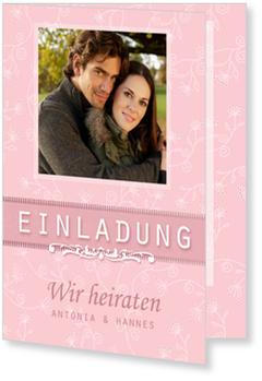 Einladungskarten Hochzeit, Glück zu Zweit in Rosa