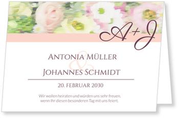Einladungskarten Hochzeit, Aquarellblumen