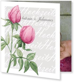 Einladungskarten Hochzeit, Rosenduo in Grau