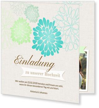Einladungskarten Hochzeit, Blühend in Türkis