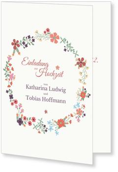 Einladungskarten Hochzeit, Blümchenkranz