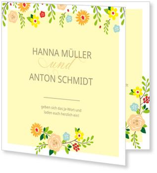Einladungskarten Hochzeit, Bunte Blüten
