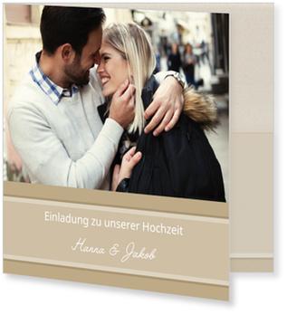 Einladungskarten Hochzeit, Dezente Eleganz in Beige