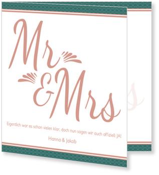 Einladungskarten Hochzeit, Art Deco in Rosé