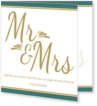 Einladungskarten Hochzeit, Art Deco