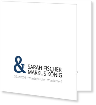 Einladungskarten Hochzeit, Auf weißem Grund - Königsblau