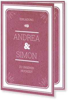Einladungskarten Hochzeit, Gerahmt in Violett