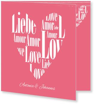 Einladungskarten Hochzeit, Herz aus Liebe