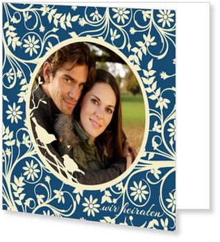 Einladungskarten Hochzeit, Hochzeitsgezwitscher in Blau