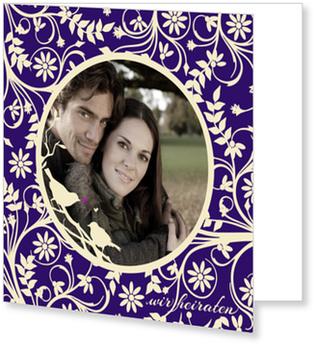 Einladungskarten Hochzeit, Hochzeitsgezwitscher in Lila