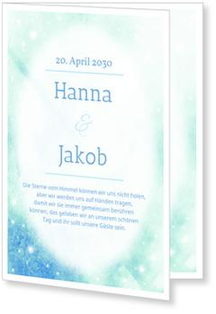 Einladungskarten Hochzeit, Leuchtende Sterne in Blau