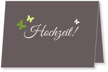 Einladungskarten Hochzeit, Schmetterlinge in Grün