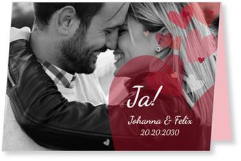 Einladungskarten Hochzeit, Es soll Herzen regnen
