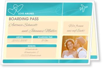 Einladungskarten Hochzeit, Flugticket in Blau