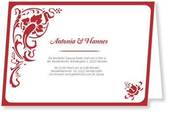 Einladungskarten Hochzeit, Folklore in Rot