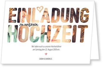 Einladungskarten Hochzeit, Fotoschrift