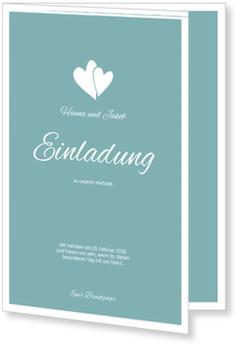 Einladungskarten Hochzeit, Herzpärchen in Blau