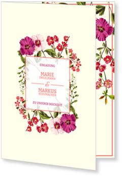 Einladungskarten Hochzeit, Hochzeitsblumen - Crème