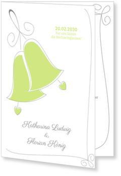 Einladungskarten Hochzeit, Hochzeitsglocken in Grün