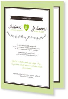 Einladungskarten Hochzeit, Hochzeitsherzchen in Grün