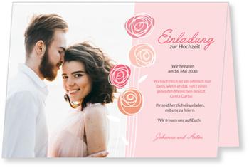 Einladungskarten Hochzeit, Hochzeitsröschen in Rosa