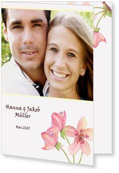 Einladungskarten Hochzeit, Kirschblüten-Aquarell auf Weiß