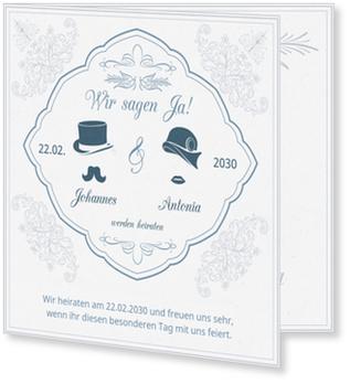 Einladungskarten Hochzeit, Nostalgie in Blau