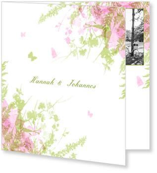 Einladungskarten Hochzeit, Schmetterling in Grün