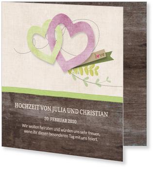 Einladungskarten Hochzeit, Unser Tag in Grün