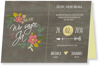 Einladungskarten Hochzeit, Verliebt - Rustikal
