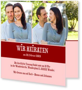 Einladungskarten Hochzeit, Verliebte Herzchen