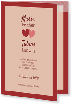 Einladungskarten Hochzeit, Verliebte Herzen in Rot