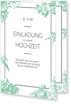 Einladungskarten Hochzeit, Vintage flowers in Grün