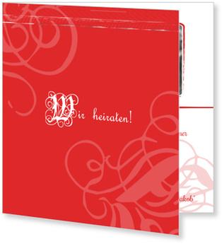 Einladungskarten Hochzeit, Zeitreise in Rot
