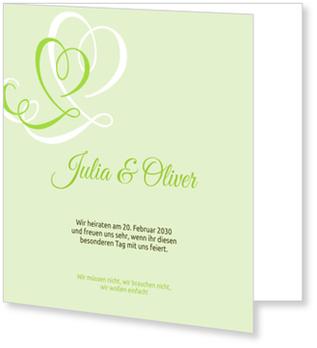 Einladungskarten Hochzeit, Zarte Herzen in Kiwi