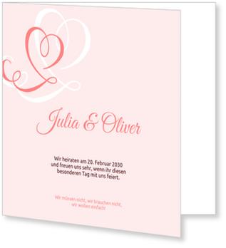 Einladungskarten Hochzeit, Zarte Herzen