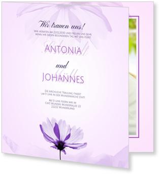 Einladungskarten Hochzeit, Zarte Blume in Lila