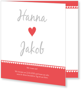 Einladungskarten Hochzeit, Herzen