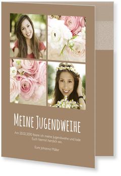 Einladungskarten Jugendweihe, Schlichte Eleganz in Braun