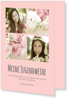 Einladungskarten Jugendweihe, Schlichte Eleganz in Rosé