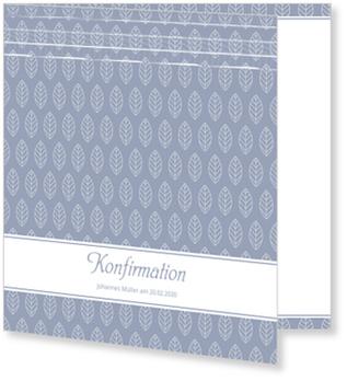 Einladungskarten Konfirmation, Kleines Blatt in Blau