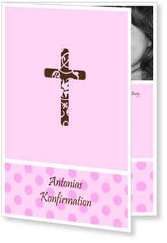 Einladungskarten Konfirmation, Kreuz mit rosa Pünktchen