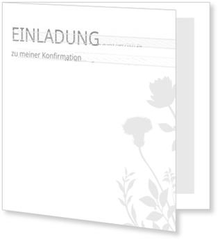Einladungskarten Konfirmation, Blumenzierde in Weiß