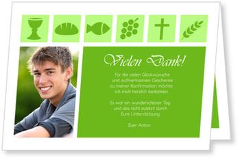 Danksagungskarten Konfirmation, Christliche Symbole in Grün
