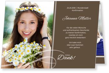 Danksagungskarten Konfirmation, Schleife in Braun