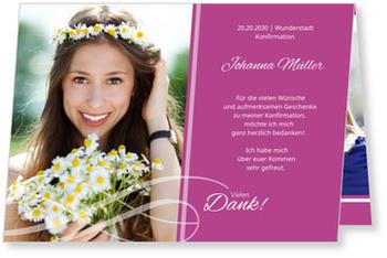 Danksagungskarten Konfirmation, Schleife in Fuchsia