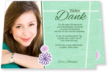 Danksagungskarten Konfirmation, Scrapbook in Grün